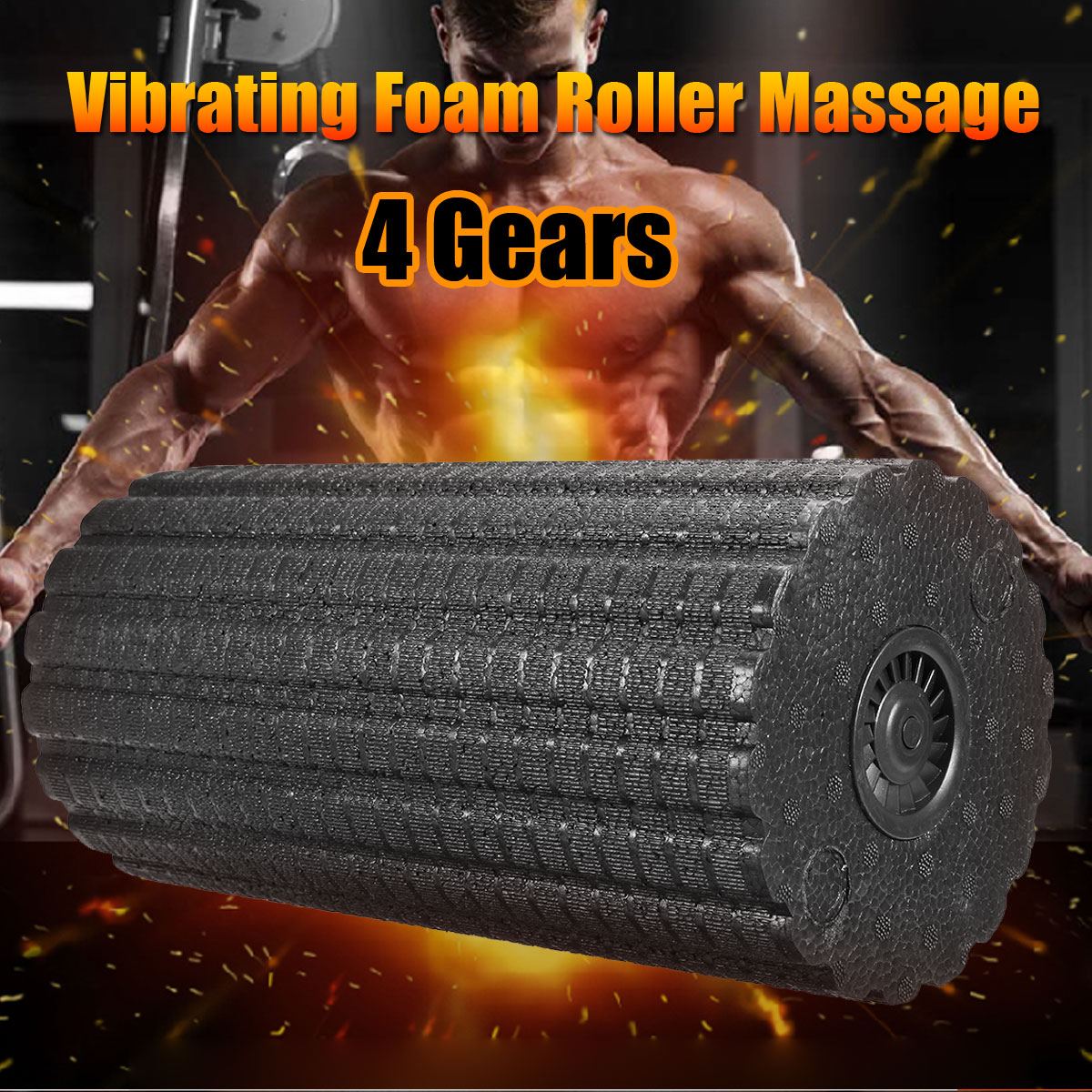 4-Speed Vibrating Electric Foam Roller, Slimerence Rechargeable Electric Foam Massager